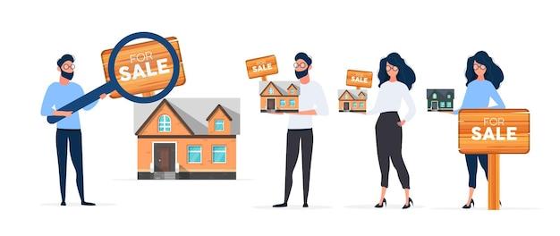 Facet szuka domu do kupienia. wyszukaj dom lub nieruchomość. na sprzedaż znak. odosobniony. wektor.