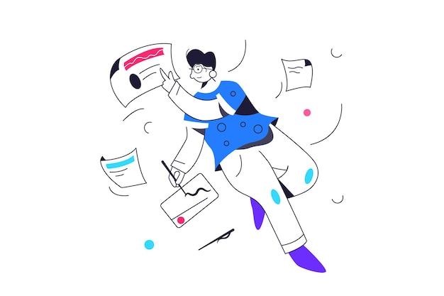 Facet szybuje w stanie nieważkości z danymi i papierami, rysuje na tablecie graficznym.