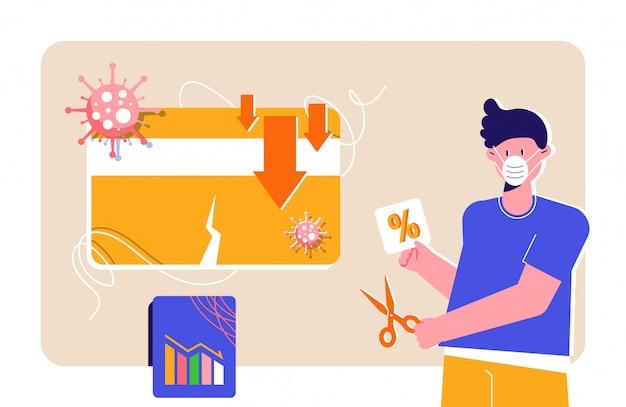 Facet w masce respiratora obniża stopy procentowe podczas blokady pandemicznej covid-19. karta kredytowa, strzałki w dół, wykres słupkowy i koronawirusy. wsparcie państwa dla gospodarstw domowych i przedsiębiorstw w gospodarce światowej.