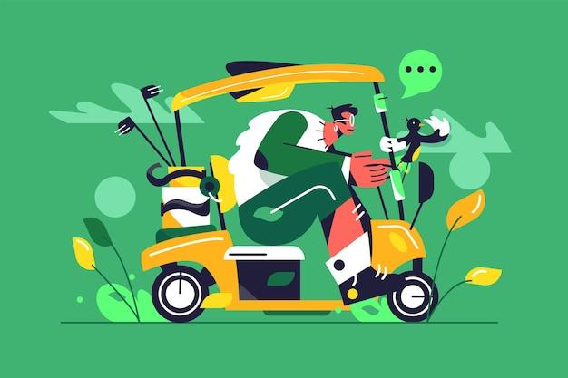Facet w okularach jeździ dużym samochodem golfowym, pudła kijów golfowych, ptak trzyma się poręczy na zielonym tle, płaska ilustracja