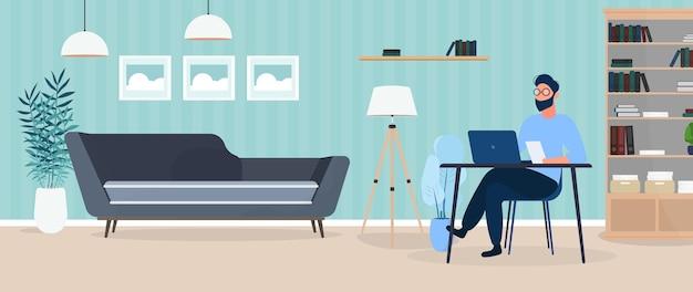 Facet w okularach siedzi przy stole na ilustracji swojego biura