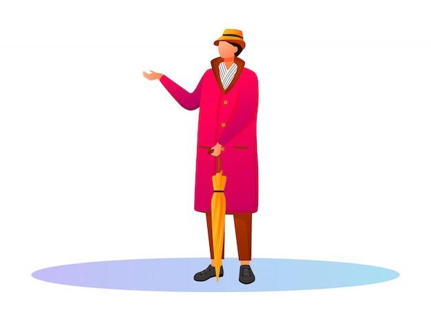 Facet w różowym płaszczu przeciwdeszczowym bez twarzy. pozostając kaukaskim facetem w kapeluszu i szaliku. deszczowa pogoda. jesienny mokry dzień. samiec z parasolową kreskówki ilustracją na białym tle
