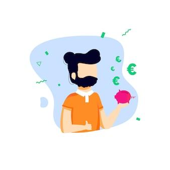Facet z brodą płaski styl trzyma skarbonkę