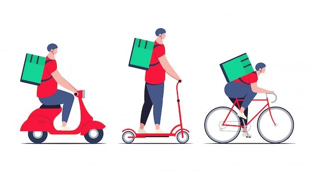 Facet z dostawą, kurier w czerwonej koszuli z plecakiem z dostawą żywności w innym transporcie jak rower, skuter elektryczny i motorower. koncepcja usługi dostawy. minimalistyczna płaska ilustracja.