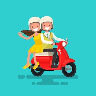Facet z dziewczyną jedzie na motocykl ilustraci