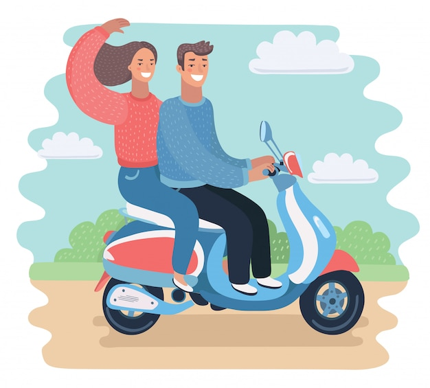 Facet z dziewczyną na motocyklu. ilustracja