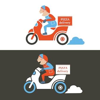 Facet z pizzą na skuterze. ilustracja na białym tle.