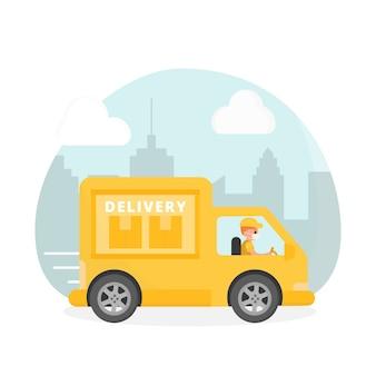 Facet z usługi dostawczej kierujący furgonetką