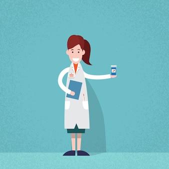 Fachowa lekarza medycyny kobiety farmaceuty chwyta pigułki