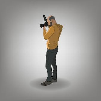 Fachowi mężczyzna fotografa paparazzi z dużym kamera obiektywem