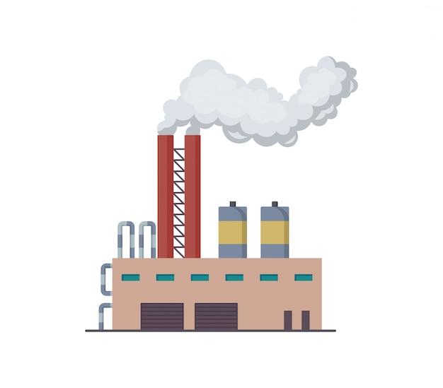 Factori lub elektrowni płaski projekt ilustracji. manufaktura fabryki rafinerii budynków przemysłowych lub elektrowni jądrowej. budowa dużego zakładu lub fabryki z dymem z fajki