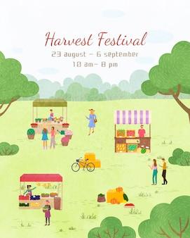 Fair holiday, harvest festival plakat szablon