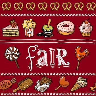 Fair szkic obramowania wakacyjne z słodkie żywności deserowe ciasta ilustracji wektorowych