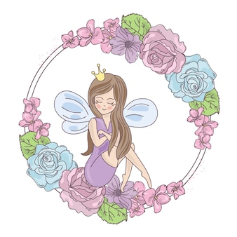 Fairy kwiaty wesele ilustracja wektorowa wydruku