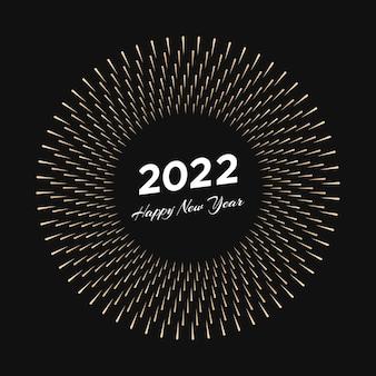 Fajerwerk z napisem 2022 i szczęśliwego nowego roku. wybuch promieniami linii kartka świąteczna na białym na czarnym tle. ilustracja wektorowa