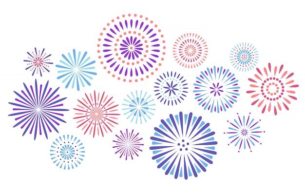Fajerwerki na uroczystości, petarda festiwalowa i eksplozja kolorowego nieba