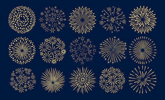 Fajerwerki. świąteczny zestaw wektor złoty starburst.
