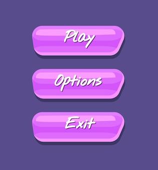 Fajna błyszcząca kolekcja interfejsu menu gry komputerowej