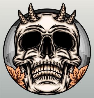 Fajna ilustracja czaszki diabła.