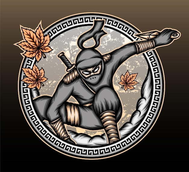 Fajna ilustracja ninja shinobi.