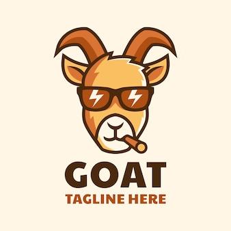 Fajna koza palenia nosić okulary kreskówka projekt logo