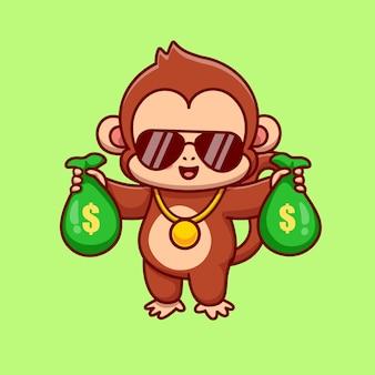 Fajna małpa trzymając worek pieniędzy kreskówka wektor ikona ilustracja. koncepcja finanse zwierząt izolowana premium wektorów. płaski styl kreskówki