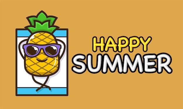 Fajna maskotka ananasa w szablonie transparentu letnich wakacji
