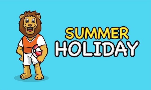 Fajna maskotka lwa w szablonie transparentu letnich wakacji
