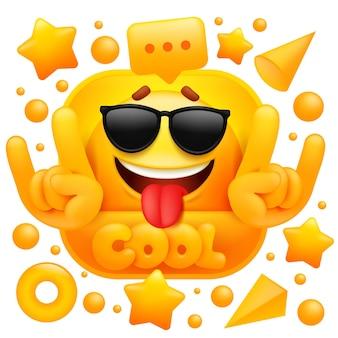 Fajna naklejka internetowa. żółte emoji z postaciami okularów.