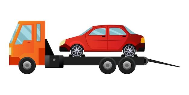 Fajna płaska ciężarówka holownicza z uszkodzonym samochodem
