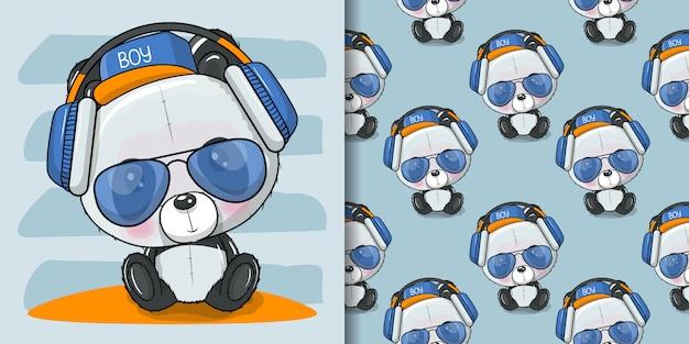 Fajna, słodka panda z kreskówek z okularami przeciwsłonecznymi i słuchawkami