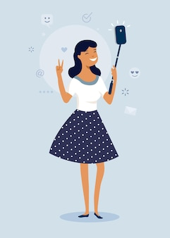 Fajna szczęśliwa dziewczyna co selfie zdjęcie z smartphone. płaski projekt postaci, ilustracji wektorowych