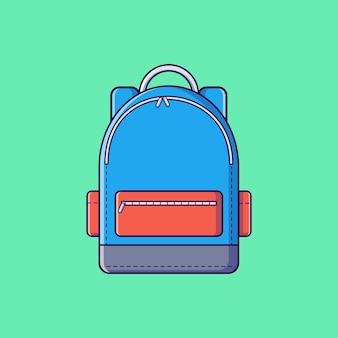 Fajna torba na płaską ilustrację wektorową szkoły studenckiej