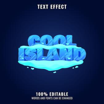 Fajna wyspa śnieg lód zima gra logo tytuł efekt tekstowy