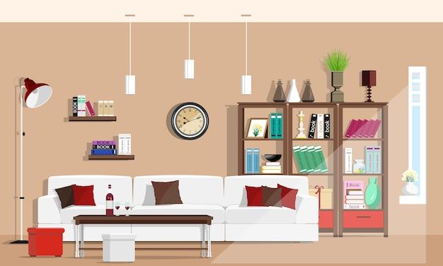 Fajne graficzne wnętrze salonu z meblami: sofa, krzesła, regał, stół, lampy. ilustracja.