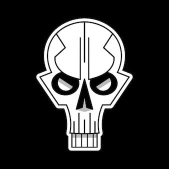 Fajne logo czaszki na czarnym tle. ilustracja wektorowa