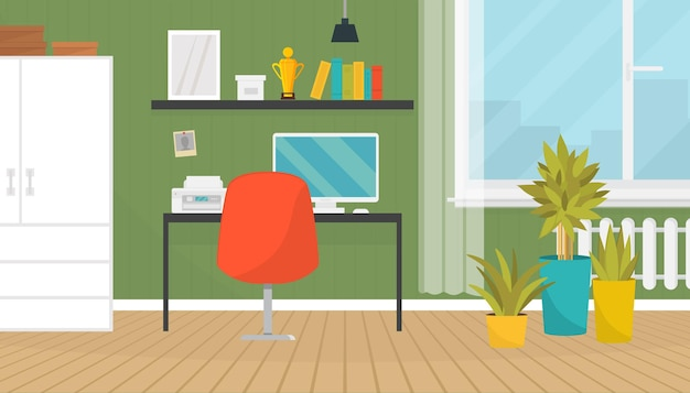 Fajne nowoczesne biuro w domu ilustracja wnętrze
