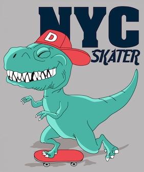 Fajne skateboarding dinozaurów