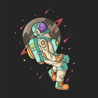 Fajny astronauta latający w galaktyce