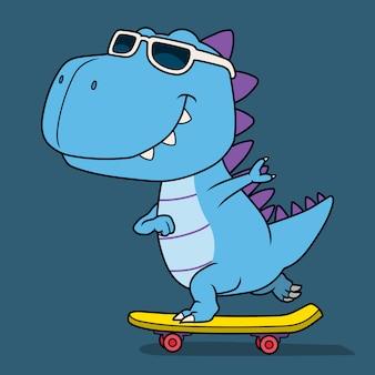 Fajny dinozaur grający na deskorolce.