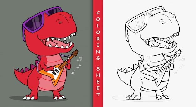 Fajny dinozaur grający na gitarze. arkusz do kolorowania.