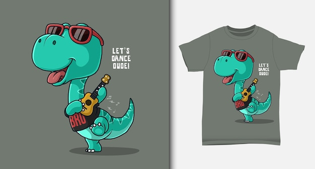 Fajny dinozaur grający na gitarze. z projektem koszulki.