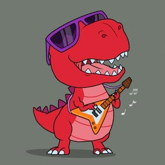 Fajny dinozaur grający na gitarze.