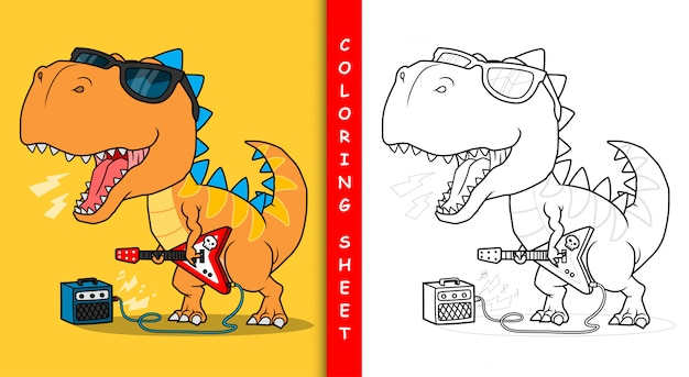 Fajny dinozaur grający na gitarze