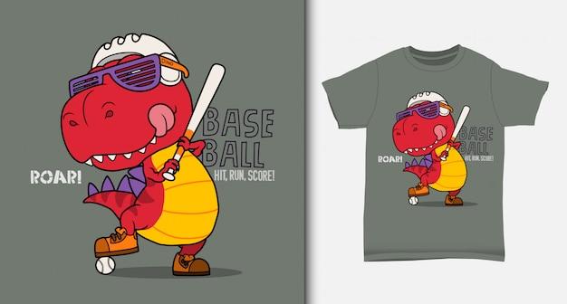 Fajny dinozaur grający w baseball