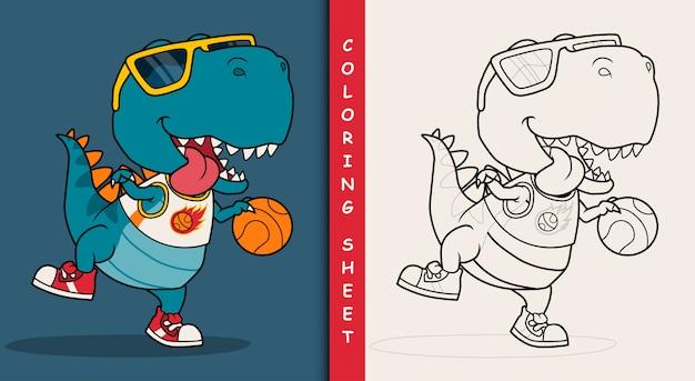 Fajny dinozaur grający w koszykówkę. arkusz do kolorowania.