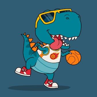 Fajny dinozaur grający w koszykówkę.