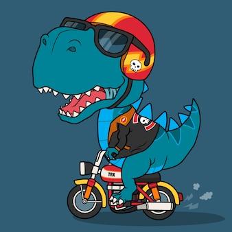 Fajny dinozaur jadący na motocyklu.