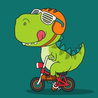 Fajny dinozaur jadący na rowerze.
