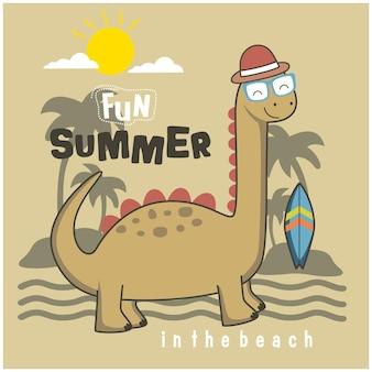 Fajny dinozaur na plaży zabawna kreskówka zwierzęca